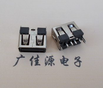 USB短体母座 鱼叉180度直插座
