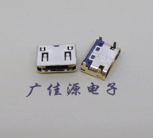 短体板上HDMI19P母座外壳镀金
